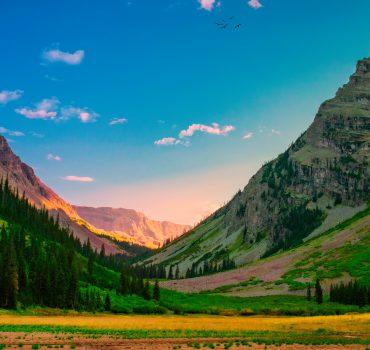 Gorgeous Lush Mountain Valley At Evening In Autumn